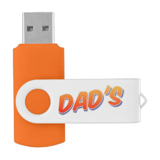 Dad's Orange 8 GB USB 2.0 Swivel USB Flash Drive