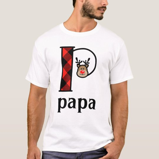 Dad's Reindeer Christmas Tshirt monogram p