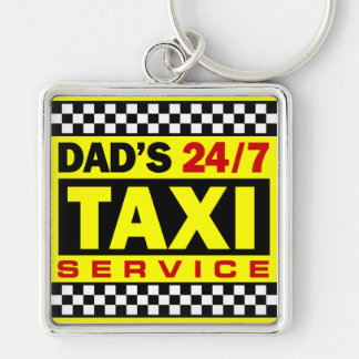 Dad's Taxi Service Silver-Colored Square Key Ring