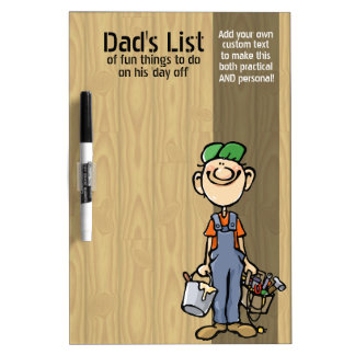 Dad's To Do List. Funny.Custom.Handy Man.Messages Dry Erase Board