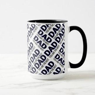 Dad's Typography Print Black 15 oz Ringer Mug