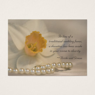 Daffodil and Pearls Wedding Charity Favor Card
