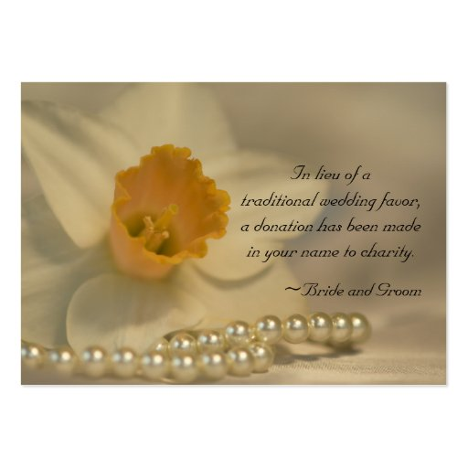 Daffodil and Pearls Wedding Charity Favor Card Business Card Templates
