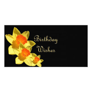 Daffodil Birthday Wishes Customised Photo Card
