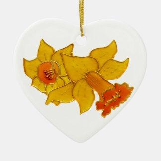 Daffodil Ceramic Heart Decoration