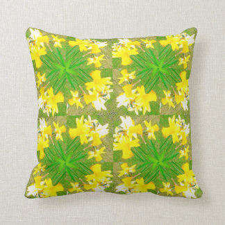 Daffodil cushion lime green floral pattern