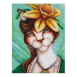 Daffodil Flower Fairy Cat Art Card
