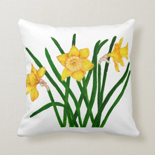 Daffodil Flowers Watercolour Painting Cushion