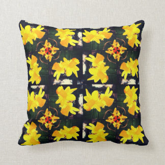 Daffodil flowers yellow green floral cushion