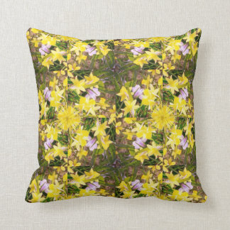 Daffodil flowers yellow green floral design cushion