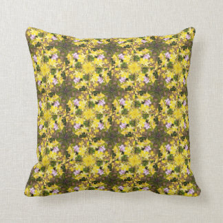 Daffodil flowers yellow green floral design throw pillow