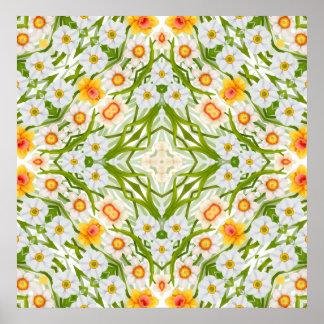 Daffodil Geometric Floral Print