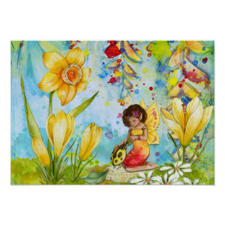 Daffodil Pixie Watercolour Poster