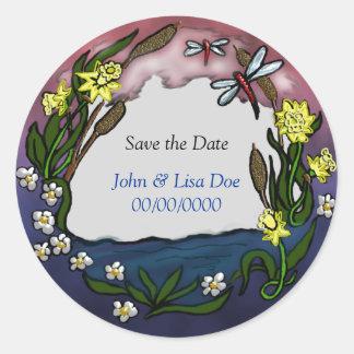 daffodil save the date round sticker