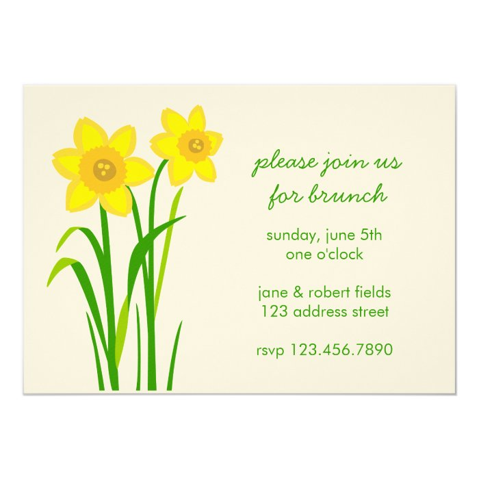 Daffodil simple modern brunch party invitation