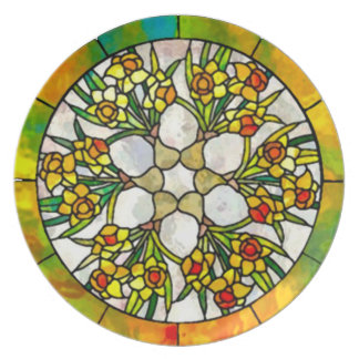 Daffodil Stained Glass Nouveau Dinner Plate