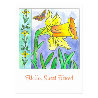 Daffodil Watercolor Flower Hello Sweet Friend Postcard