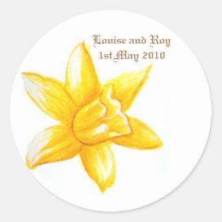 Daffodil Wedding Date Sticker