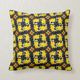 Daffodil yellow green floral pattern cushion
