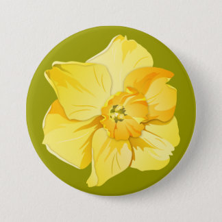Daffodil Yellow Short-Trumpet Spring Flower 7.5 Cm Round Badge