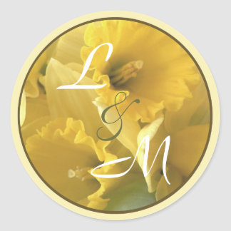 daffodile announcement envelope seal round sticker