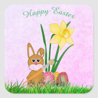 Daffodils and Bunny Happy Easter Square Sticker