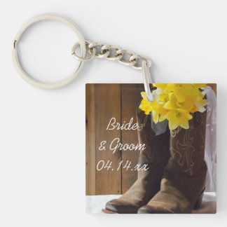 Daffodils and Cowboy Boots Country Barn Wedding Key Ring