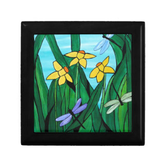 Daffodils and dragon flies small square gift box
