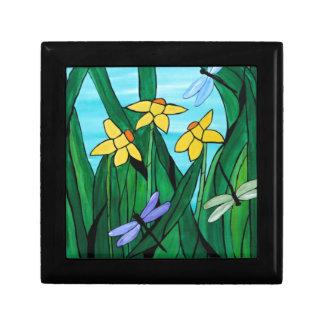 Daffodils and dragon flies small square gift box