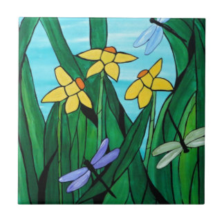 Daffodils and dragon flies tile