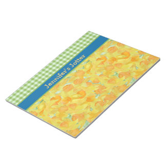 Daffodils and Green Gingham Notepad