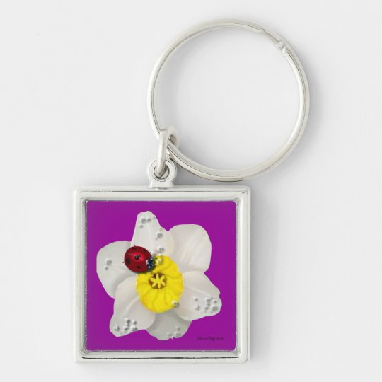 Daffodils and Ladybugs Silver-Colored Square Key Ring