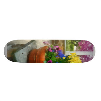 Daffodils and Pansies in Flowerpot Skateboard Deck