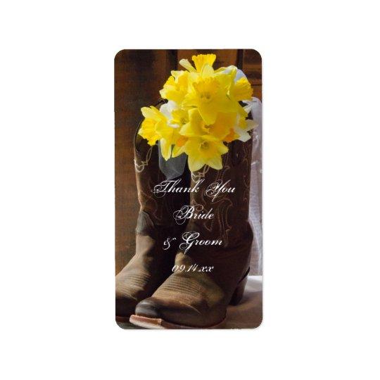 Daffodils Cowboy Boots Western Wedding Thank You Label