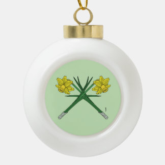 Daffodils Crossed Ceramic Ball Christmas Ornament