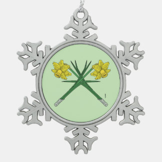Daffodils Crossed Snowflake Pewter Christmas Ornament