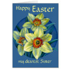 """Daffodils """"Happy Easter"""" yellow & blue Sister card"""