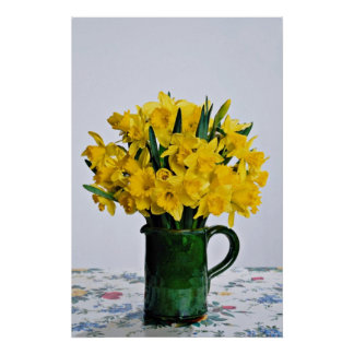 Daffodils in green vase  flowers poster