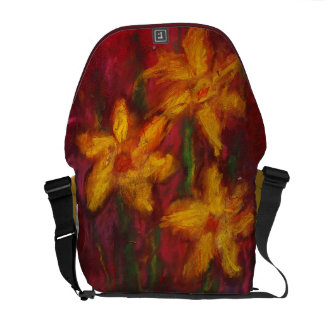 Daffodils in Pink Rickshaw Messenger Bag