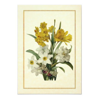 """Daffodils & Narcissis Spring Bouquet & Butterfly 5"""" X 7"""" Invitation Card"""