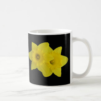Daffodils on Black Coffee Mug