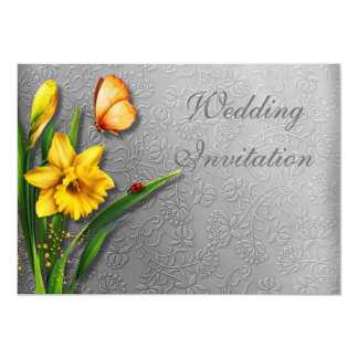 Daffodils on Decorated Silvery Invitation Card