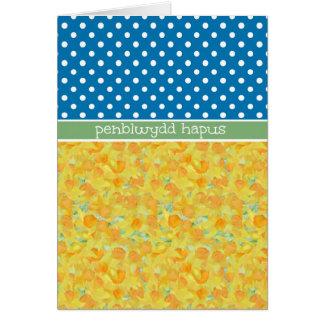 Daffodils, Polka Dots Birthday Card Welsh Greeting