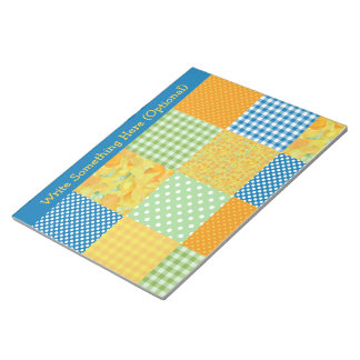 Daffodils, Polka Dots, Gingham Faux-Patchwork Notepad