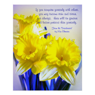 Daffodils pop art with Desiderata quote, yellow Print