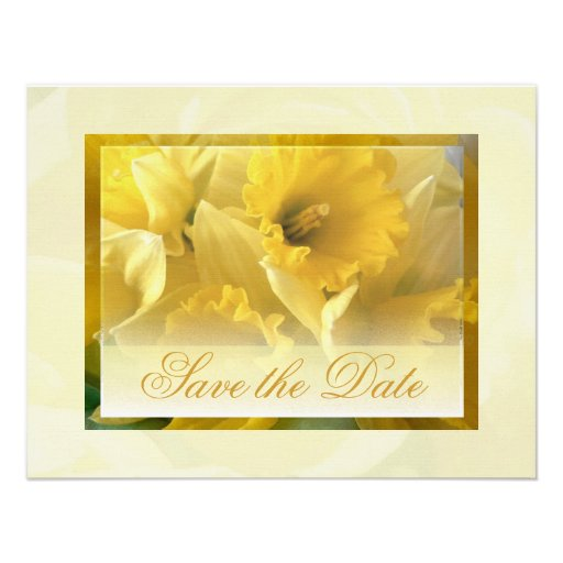 daffodils save the date 2 personalized announcement