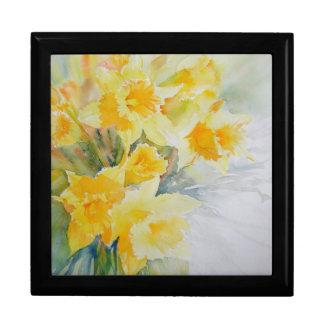 Daffodils watercolour jewellery box large square gift box
