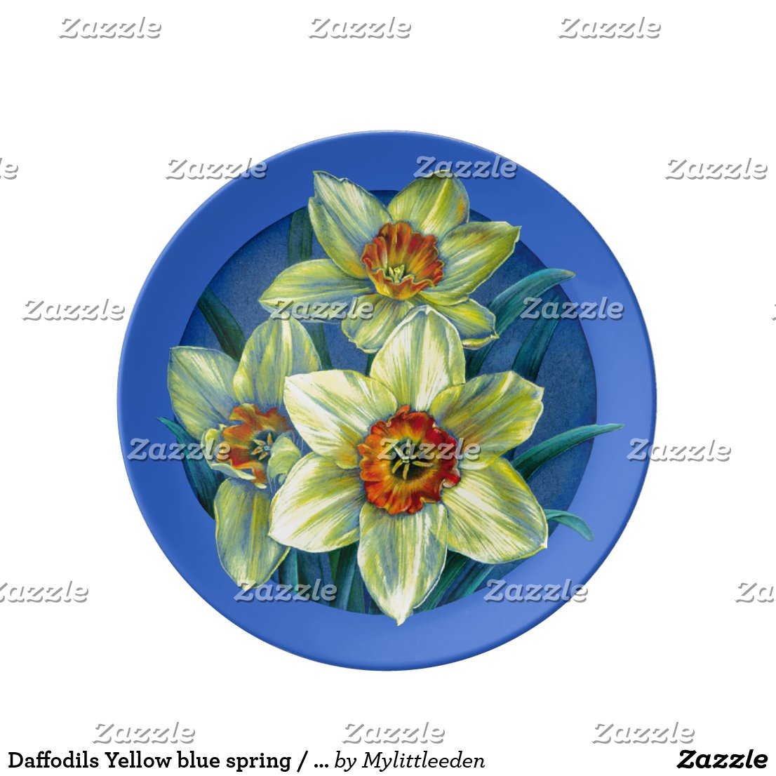Daffodils Yellow blue spring / easter plate