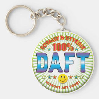 Daft Totally Basic Round Button Key Ring