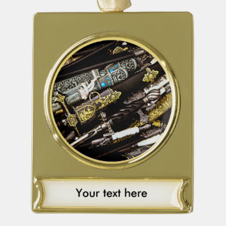 Daggers, Dirks and Sabres Gold Plated Banner Ornament